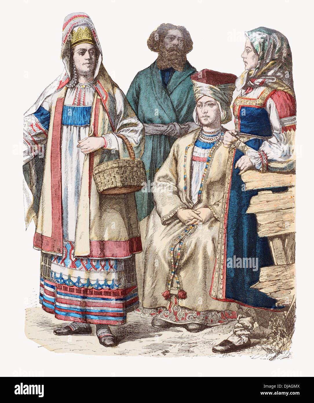 19th century XIX Russia Left to right Lady of Riazan, Woronesh man, Lady of Finland and Woman from Petersburg - Stock Image