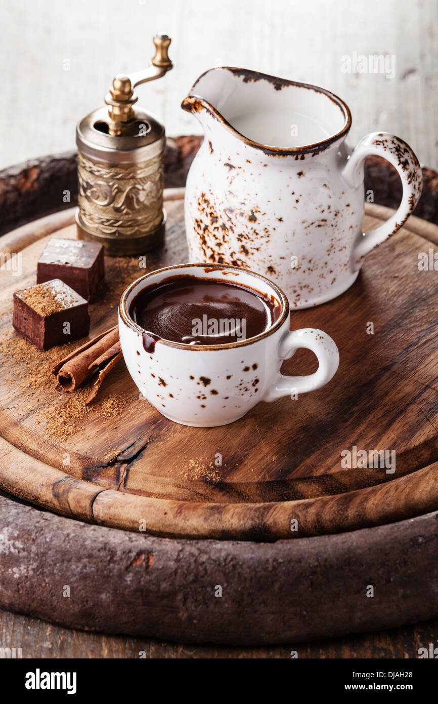 Hot chocolate with spices - Stock Image