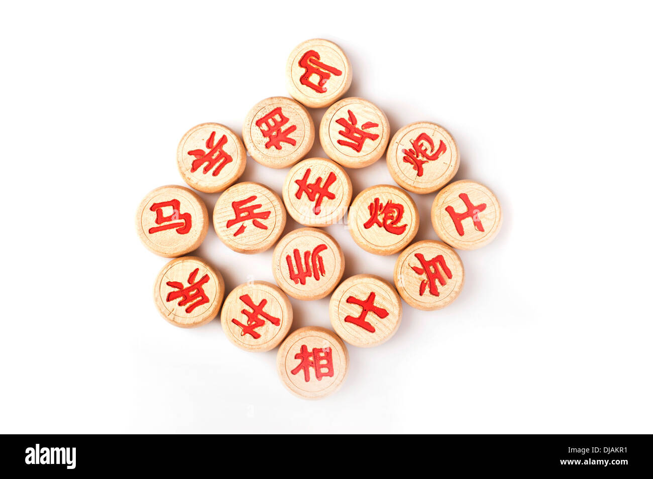 Chinese chess or Xiangqi pieces - Stock Image