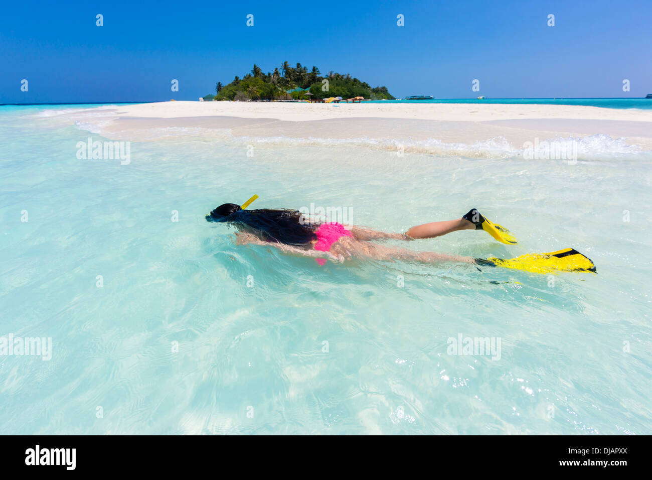 Woman snorkelling in a lagoon, Indian Ocean, Maldives - Stock Image