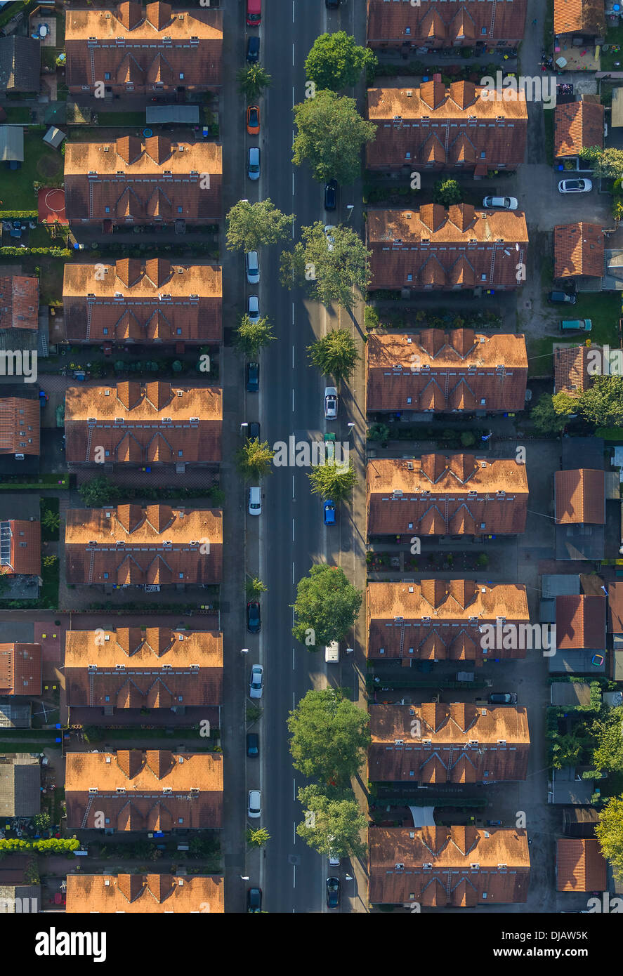 Aerial view, miners settlement, terraced houses, Rentfort, Gladbeck, North Rhine-Westphalia, Germany - Stock Image