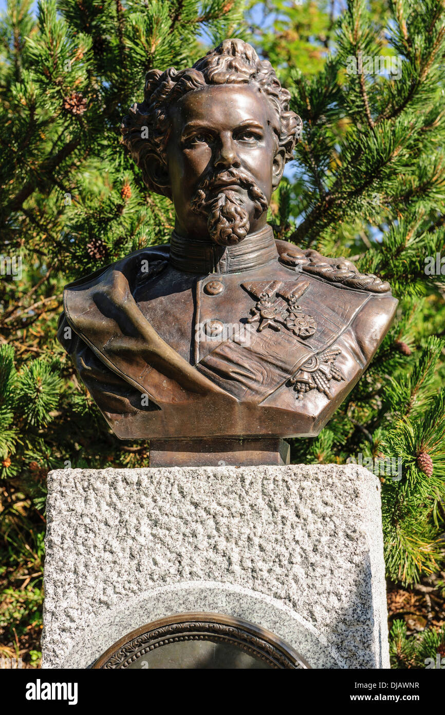 Bust of King Ludwig II of Bavaria, Upper Bavaria, Bavaria, Germany - Stock Image