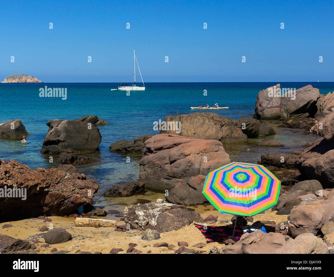 Rocky coast at Platja de Cavalleria Beach, Minorca, Balearic Islands, Spain - Stock Image
