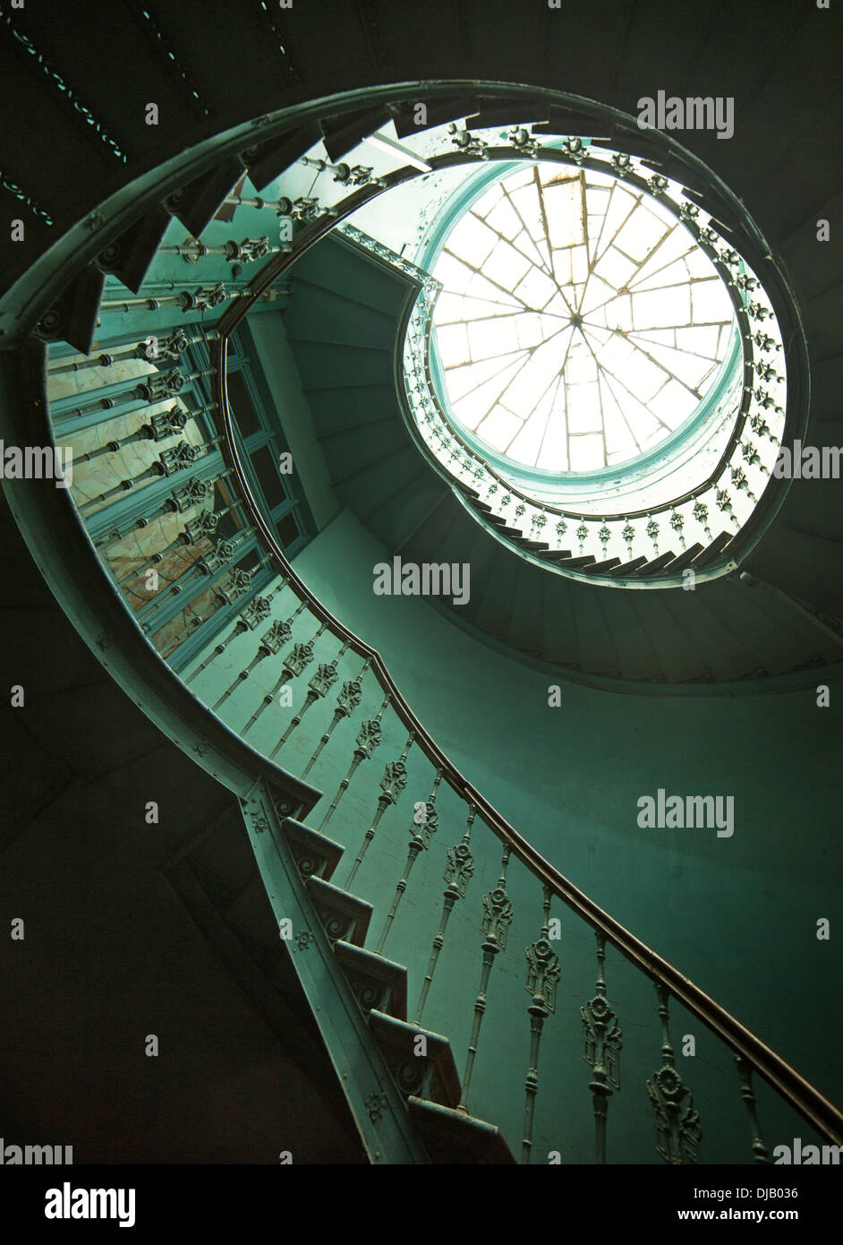 Art shot of old wooden spiral stairs - Stock Image
