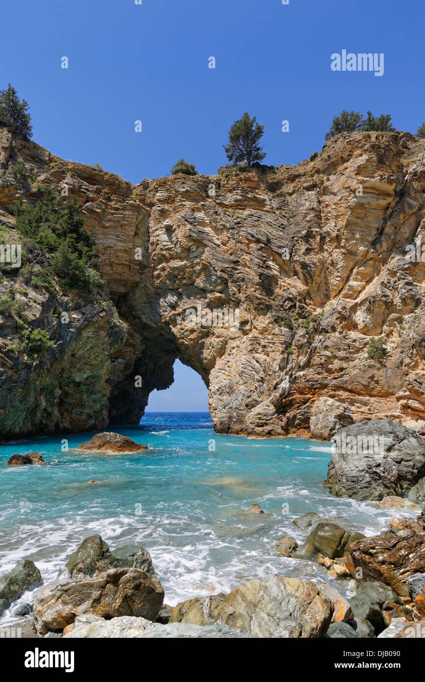 Natural arch, coast in Antiochia ad Cragum, Turkish Riviera, Gazipasa, Antalya Province, Turkey - Stock Image