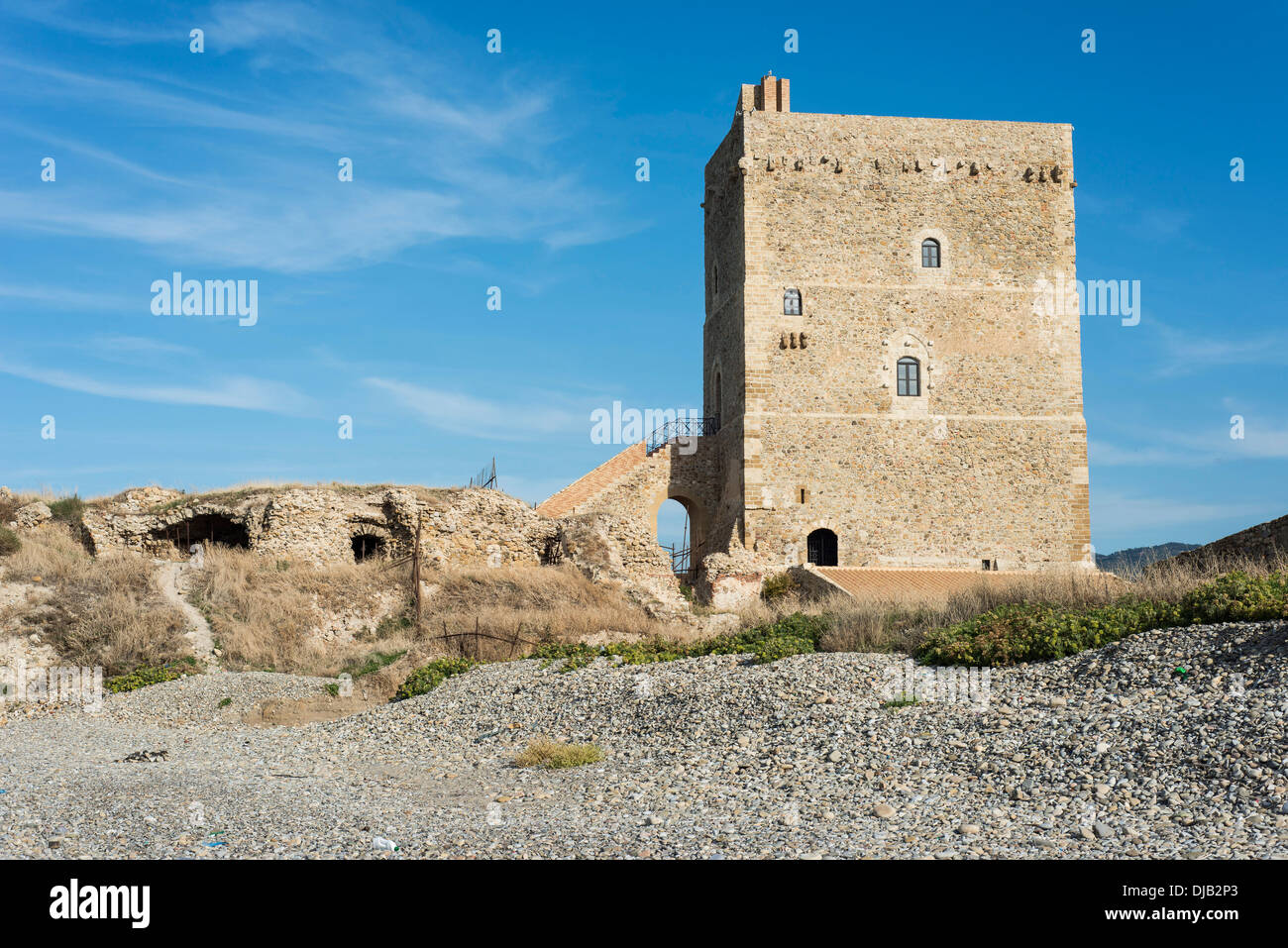 Roccella tower from the 14th Century, Campofelice di Roccella, Sicily, Italy - Stock Image