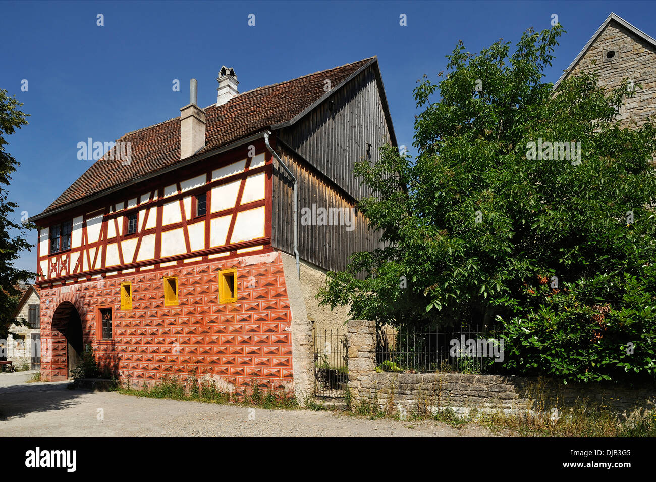 District office building, built in 1571, originally from Obernbreit, relocated to the Franconian Open Air Museum in Bad - Stock Image