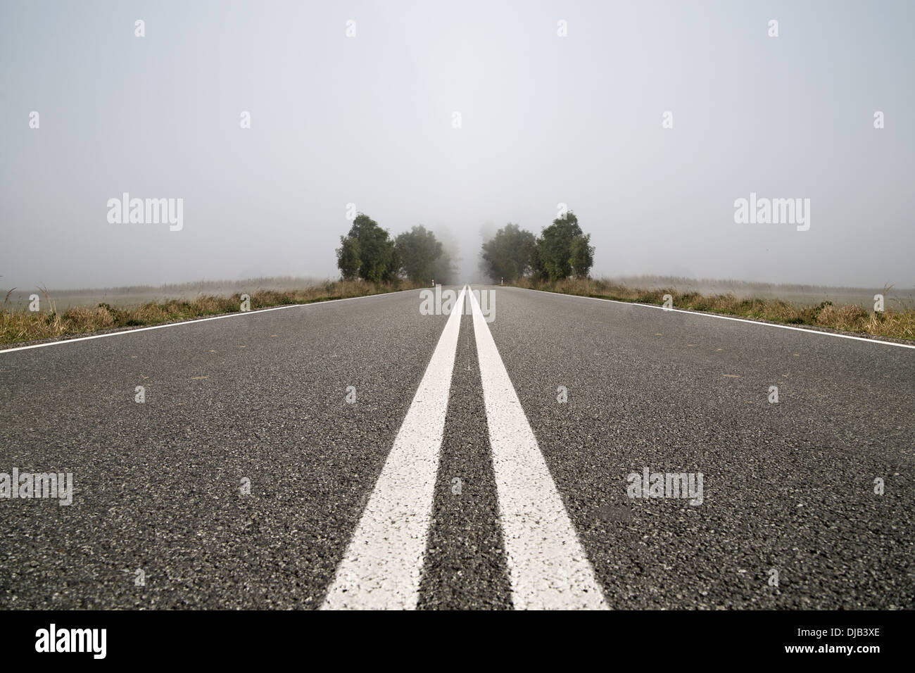 Empty road during foggy day - Stock Image