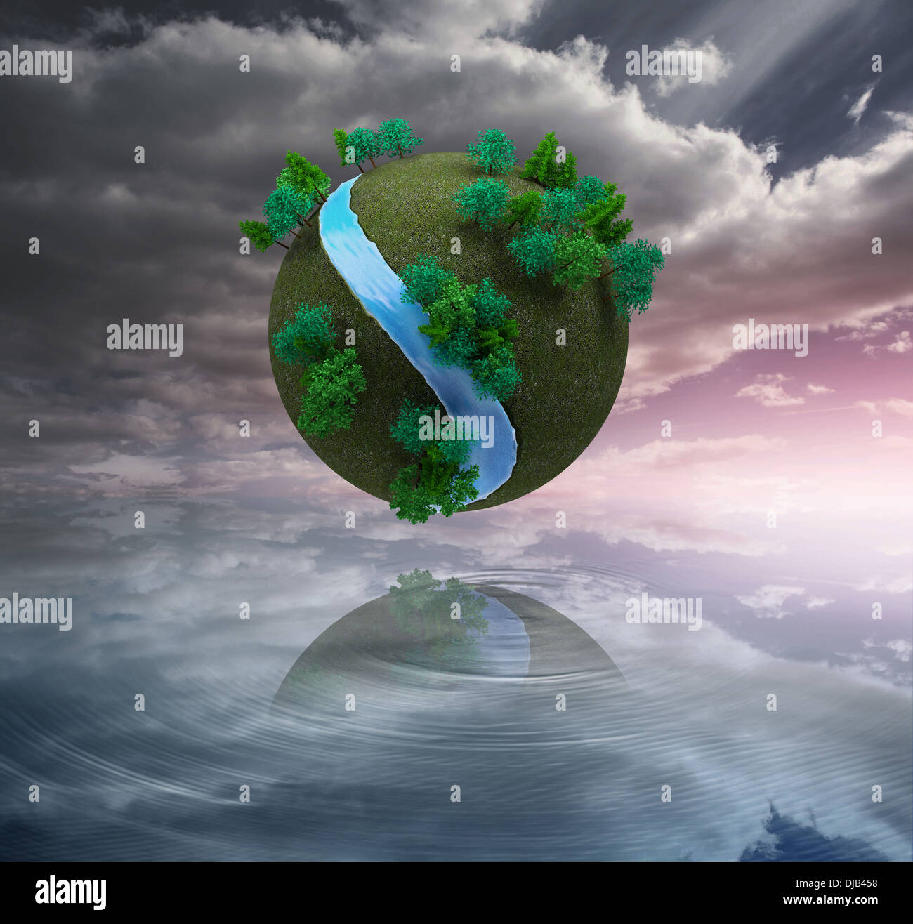 Futuristic earth floating in air Stock Photo