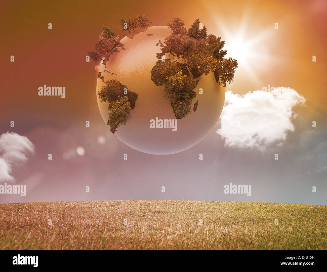 Digitally generated earth floating in air - Stock Photo