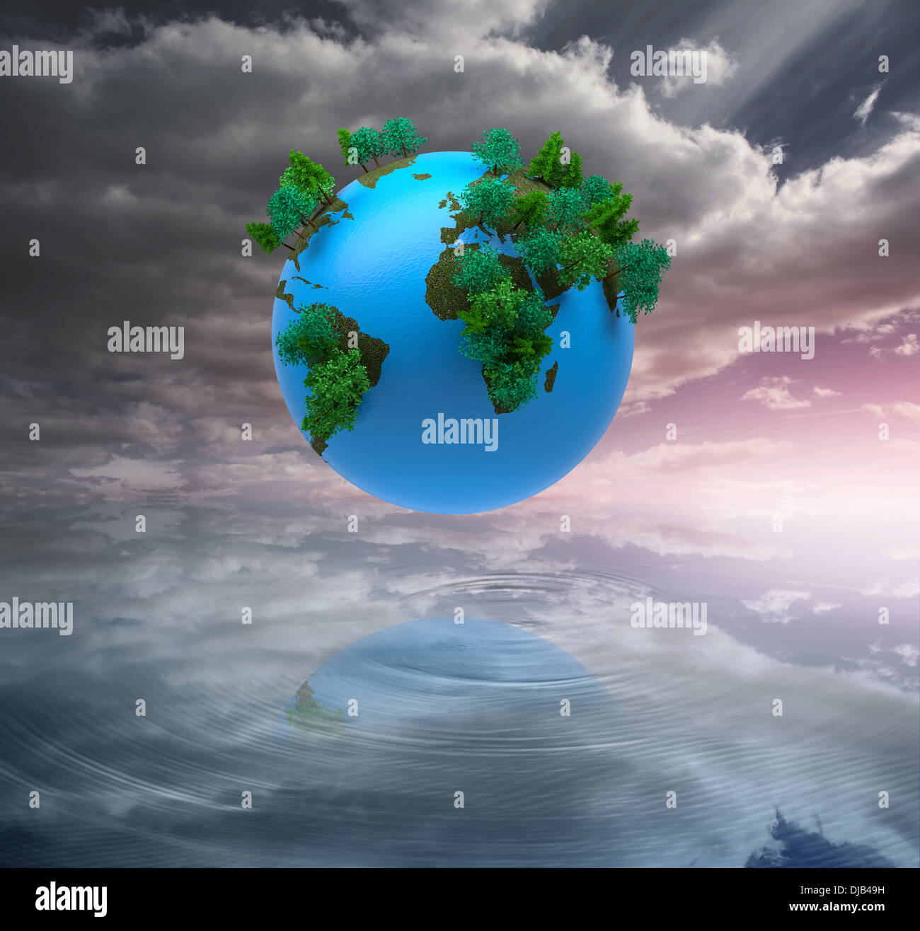 Digitally generated earth floating in air Stock Photo