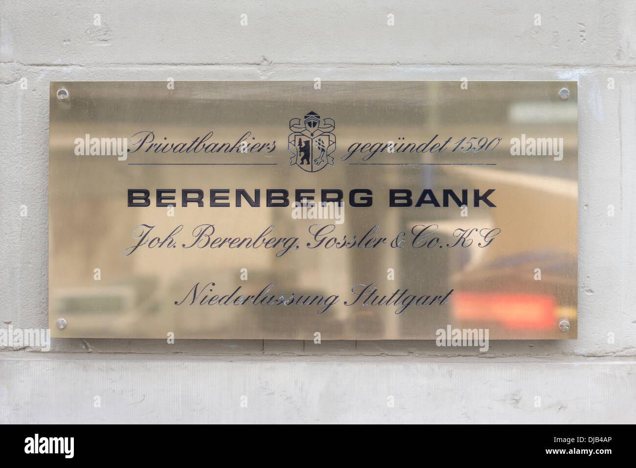 nameplate of the stuttgart branch office of _berenberg bank_ bankers, stuttgart, baden-wuerttemberg, germany - Stock Image