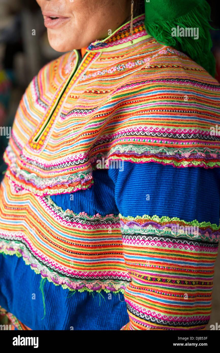 Minority group Flower Hmong`s cloth, Bac Ha, Lao Cai, Vietnam - Stock Image