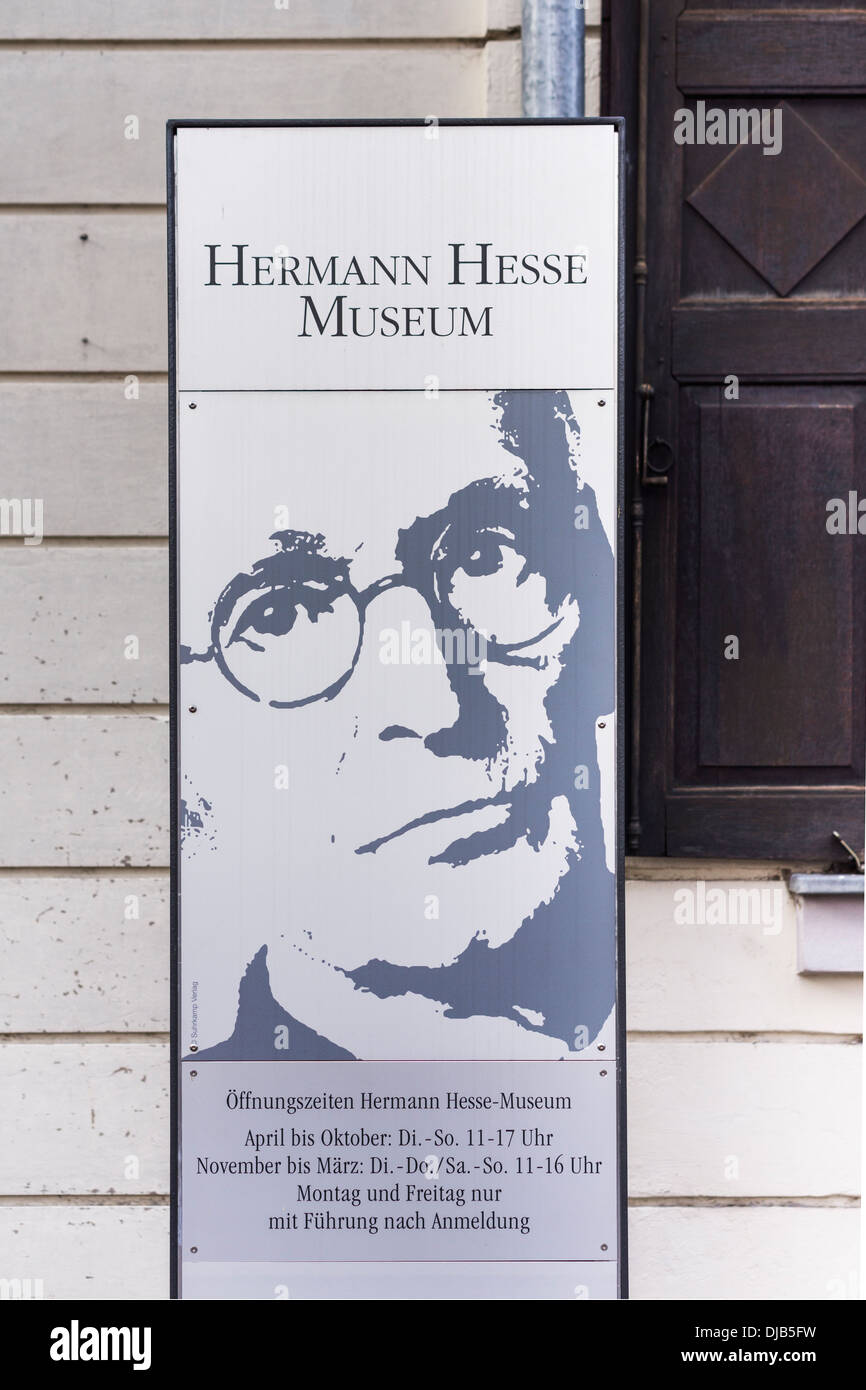 sign board at the entrance of the hermann-hesse-museum in calw, black forest, germany - Stock Image