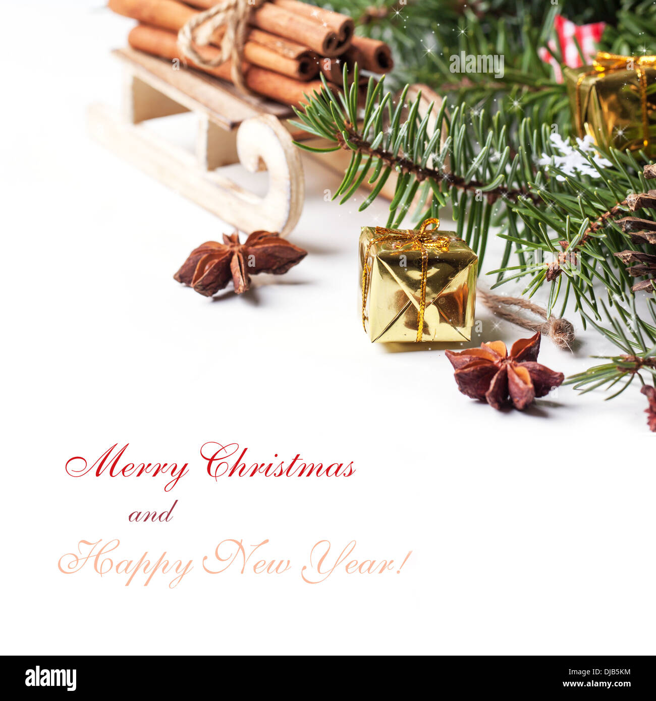 Christmas Card With Wooden Sled With Heap Of Cinnamon And Golden