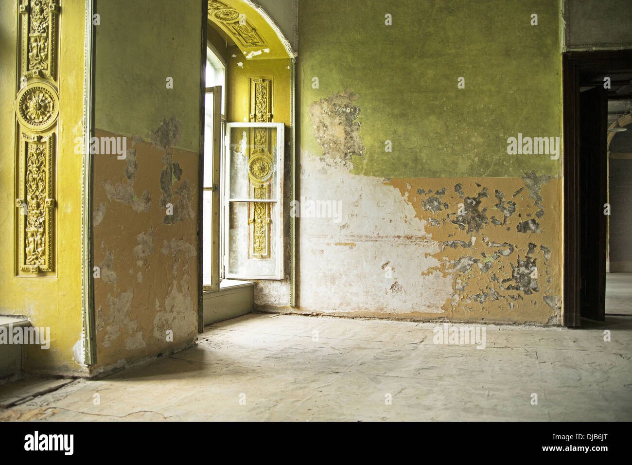 Waisted old interior in the ancient building - Stock Image