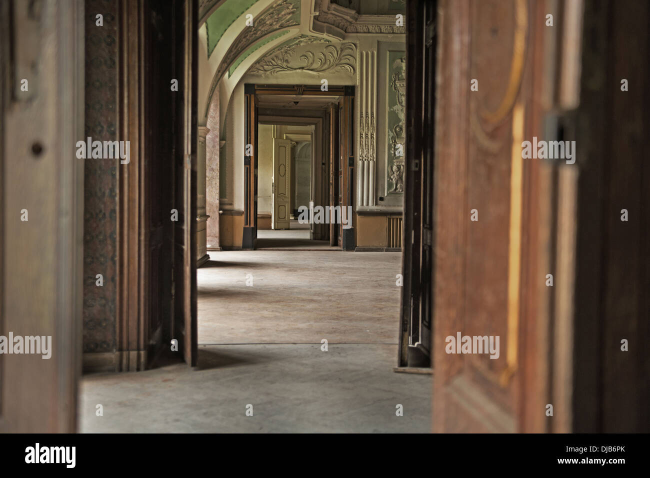 Wooden interior in the luxury hotel - Stock Image