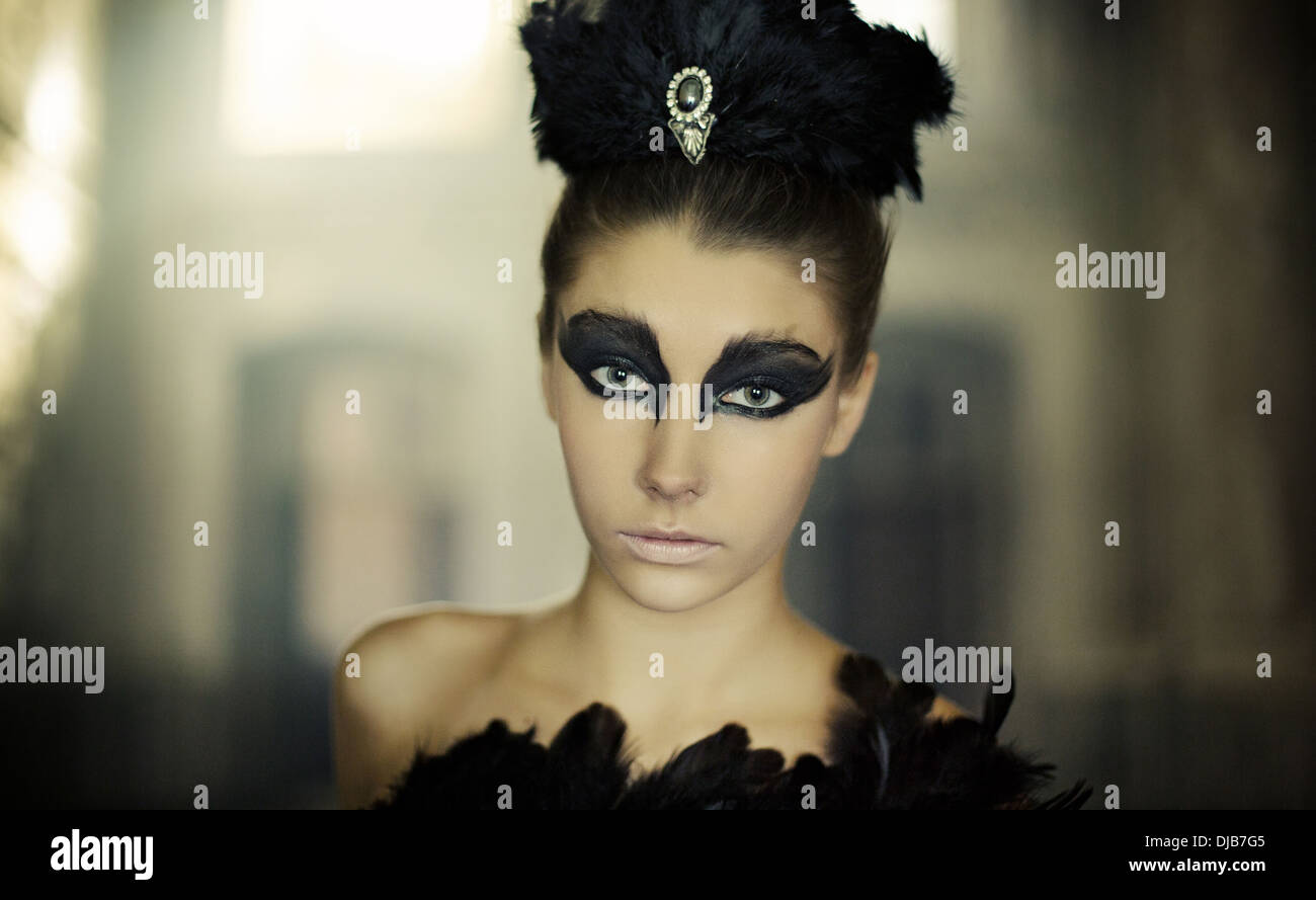Portrait of the young ballet dancer as a black swan - Stock Image