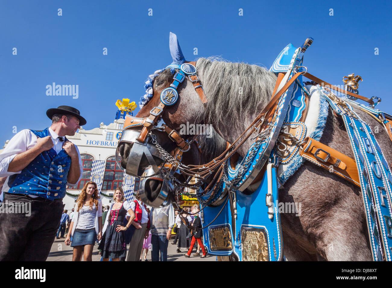 Germany, Bavaria, Munich, Oktoberfest, Horses Dressed in Festival Livery - Stock Image