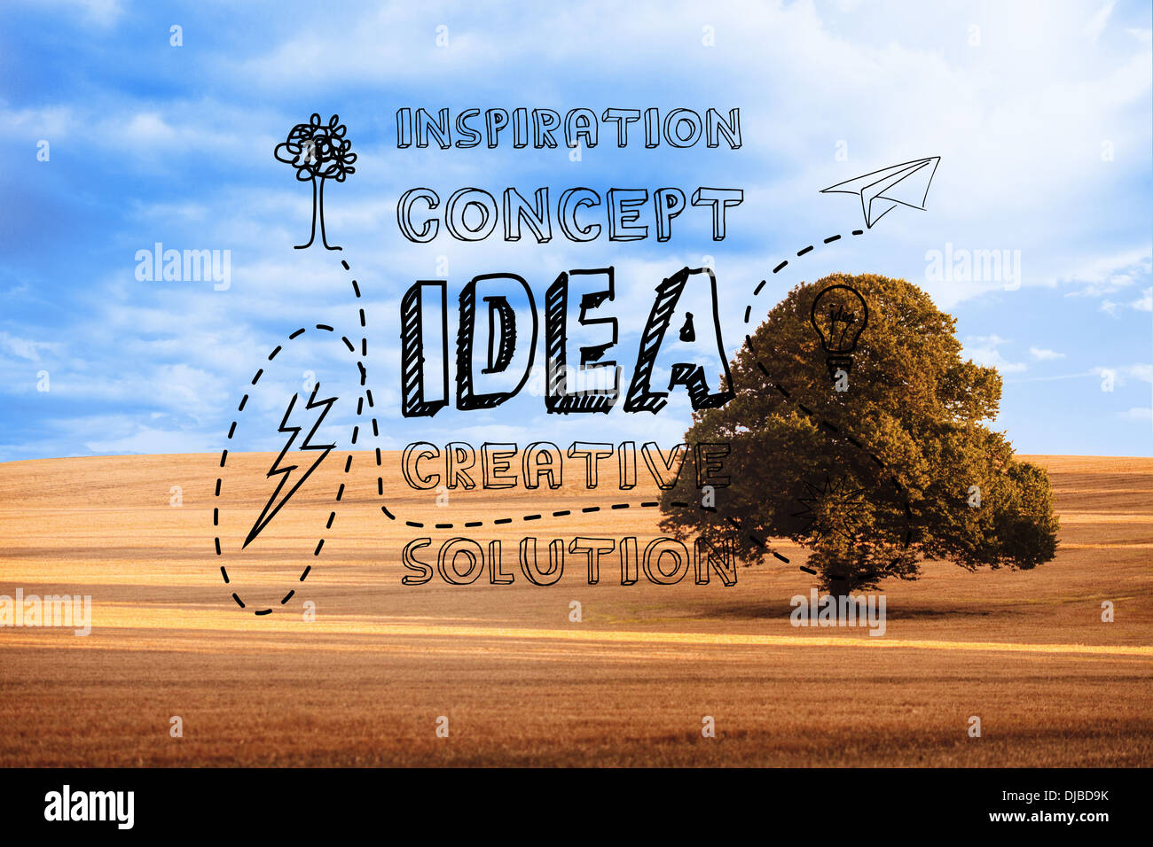 Idea graphic over countryside - Stock Image