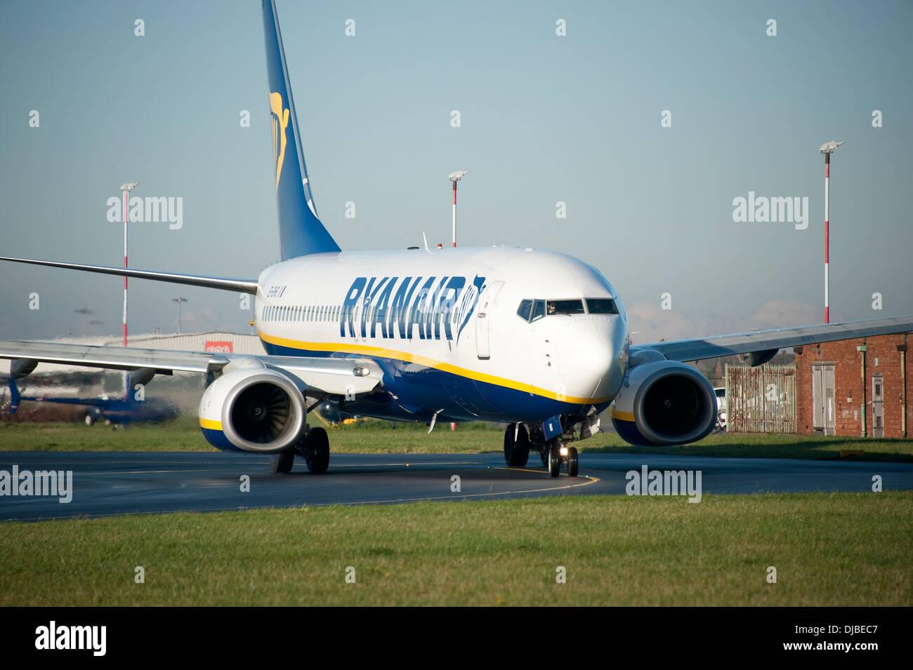 Ryanair Jet Plane at Liverpool John Lennon Airport - Stock Image