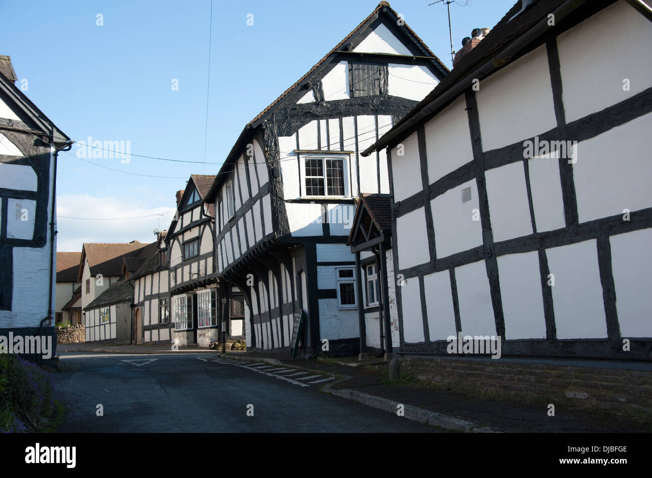 Whattle and Daub Construction Houses Weobley Herefordshire UK - Stock Image