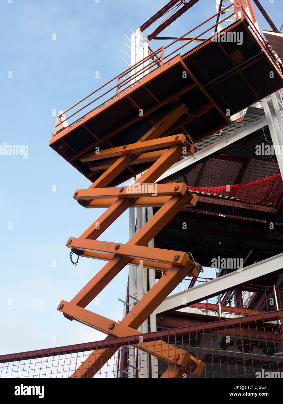 Scissor Lift Hydraulic Platform Access Building Stock Photo