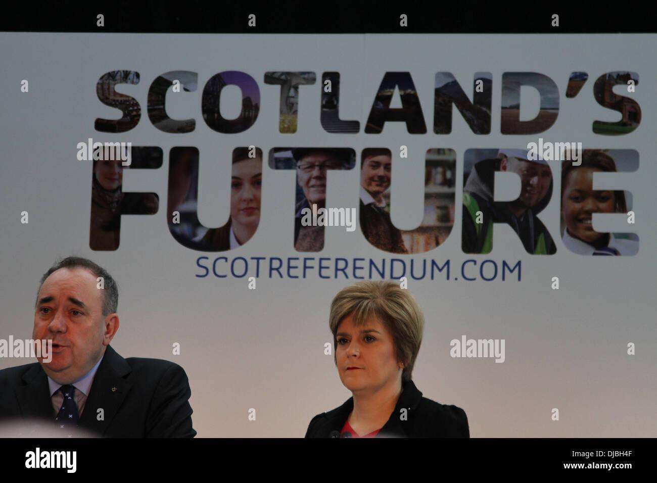 Glasgow, Scotland. 26th Nov, 2013. Scotland's First Minister Alex Salmond (L) and Deputy First Minister Nicola Sturgeon Stock Photo