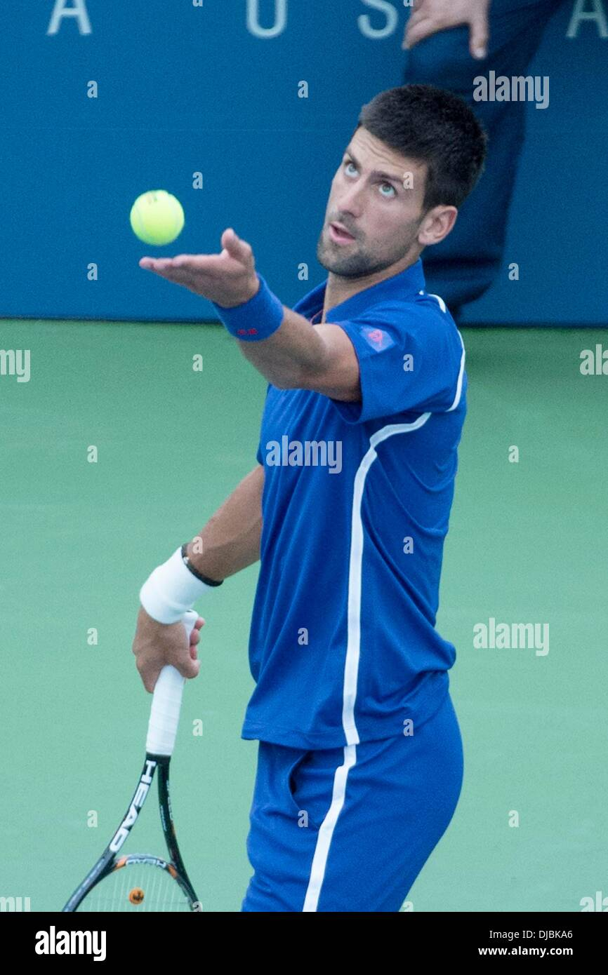 Novak Djokovic U.S. Open 2012 Men's Match - Novak Djokovic vs Stanislas Wawrinka - USTA Billie Jean King National Tennis Center. Novak defeats Wawrinka 6-4, 6-1, 3-1 New York City, USA - 05.09.12 - Stock Image