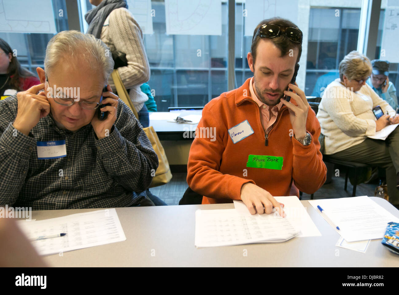 Volunteers at a phone bank for Democratic political
