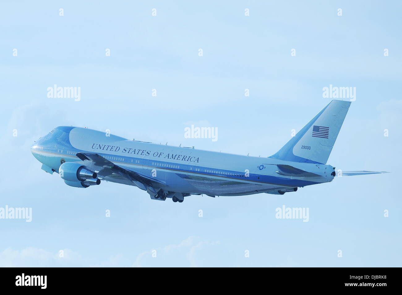 Air Force One, with U.S. President Barack Obama aboard, departs West Palm Beach International Airport following a campaign rally West Palm Beach, Florida - 09.09.12 - Stock Image