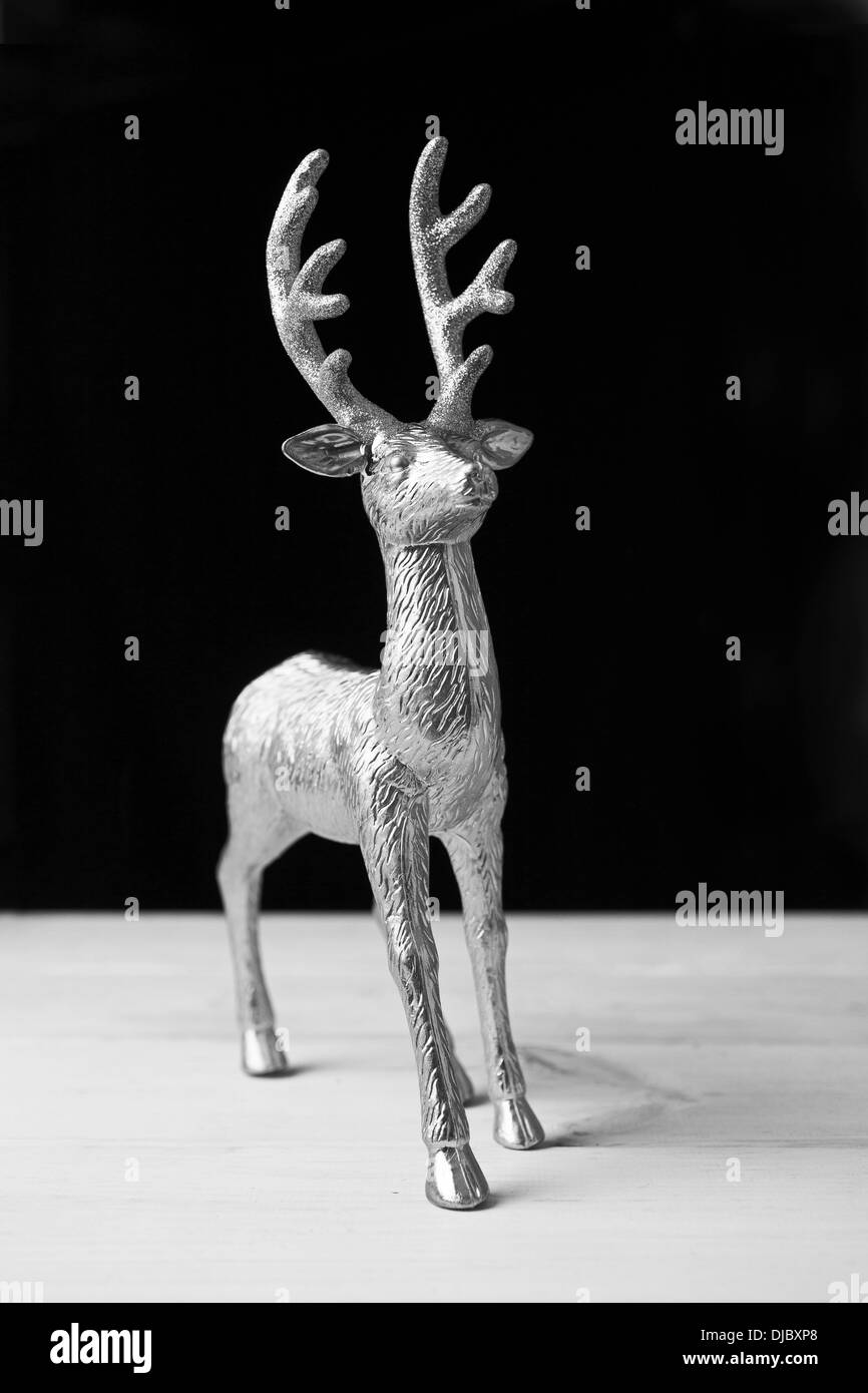 a shiny metal reindeer christmas decoration stock image - Metal Reindeer Christmas Decorations