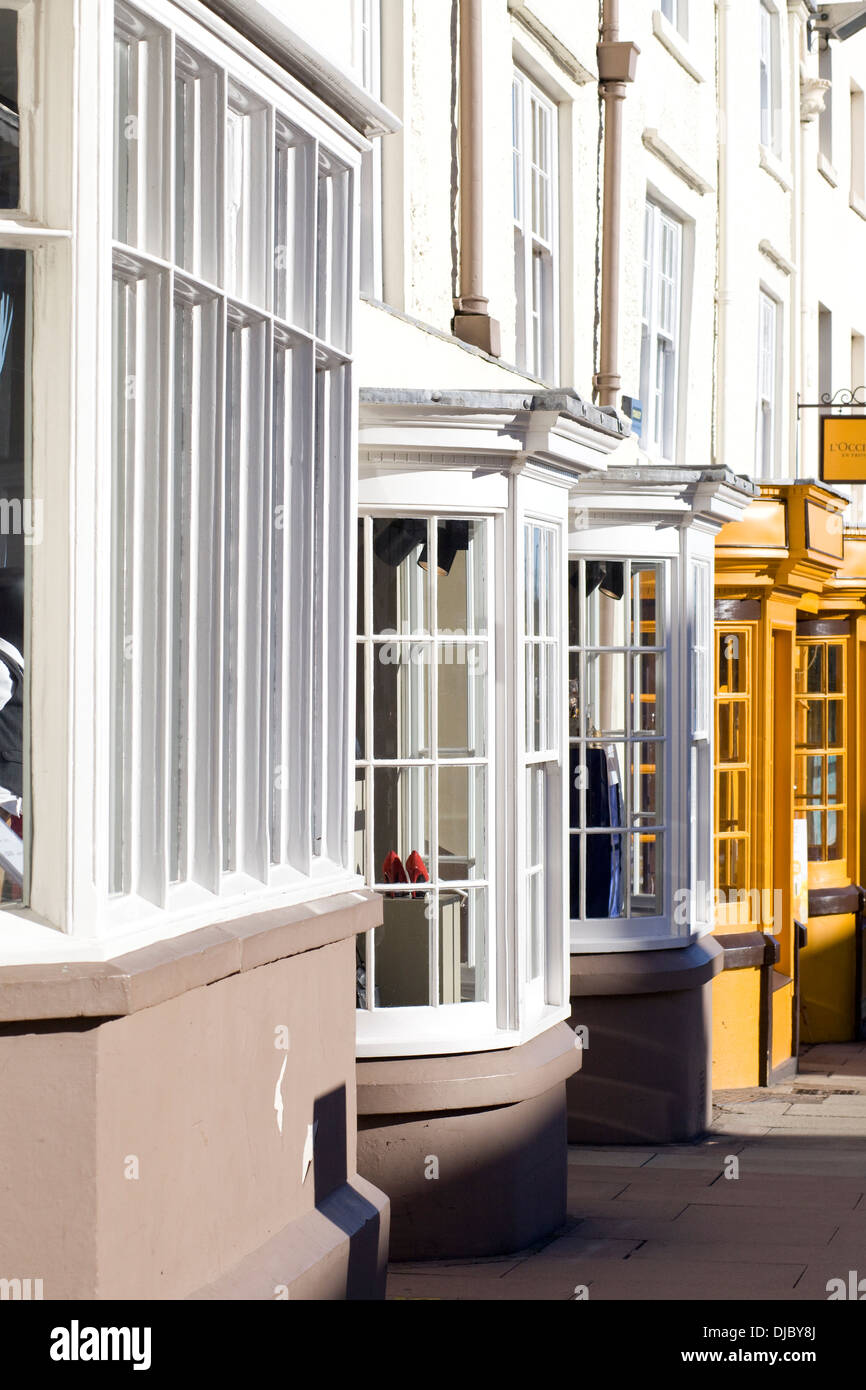 Bay Windows on a row of Houses street in Stratford upon Avon England - Stock Image