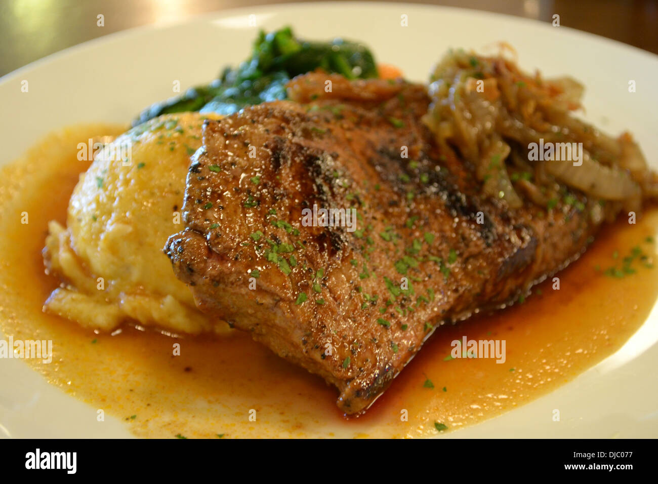 Sirloin steak with mash potato - Stock Image
