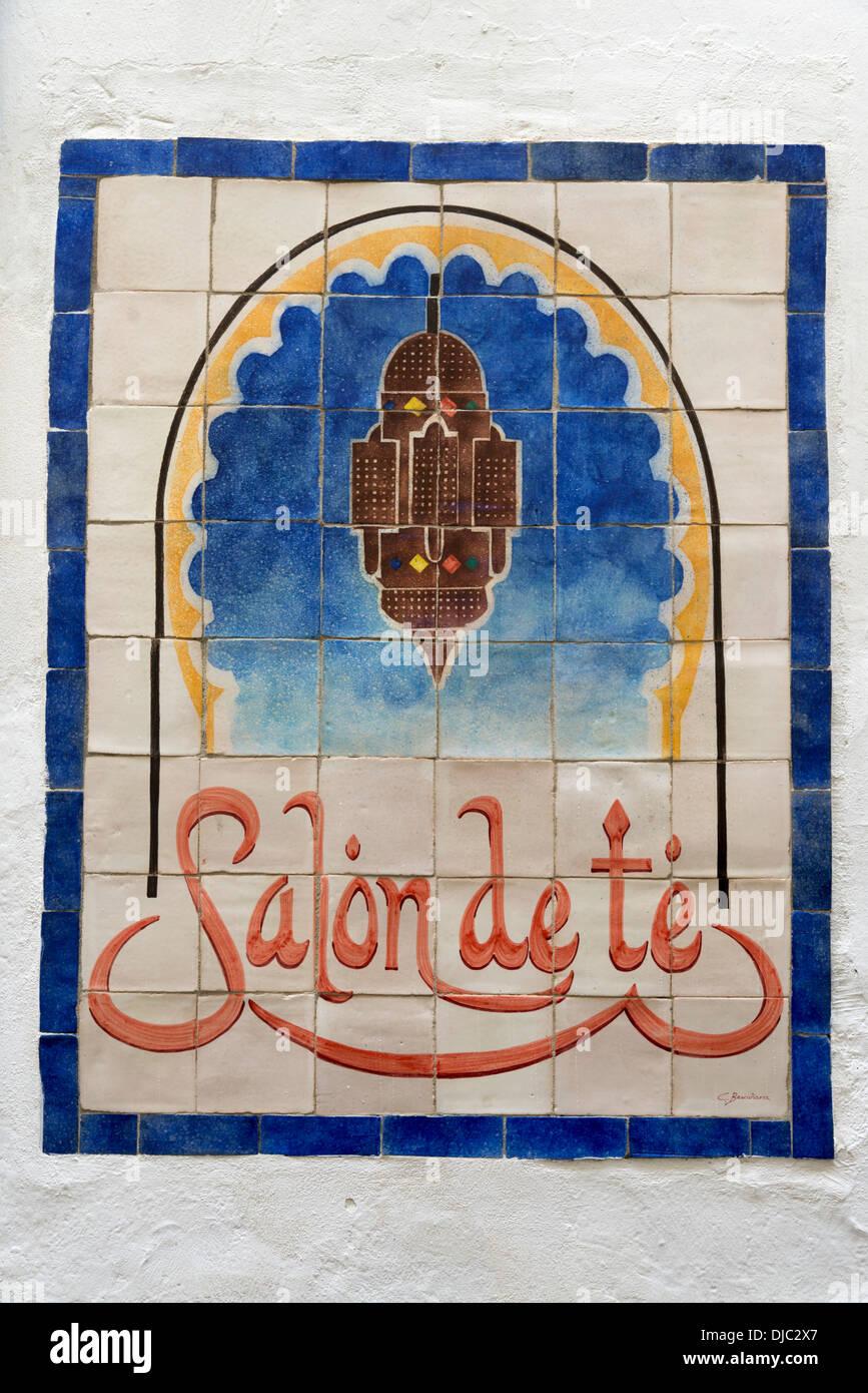 Salon de te cafe tiles sign, Cordoba, Andalusia, Spain - Stock Image