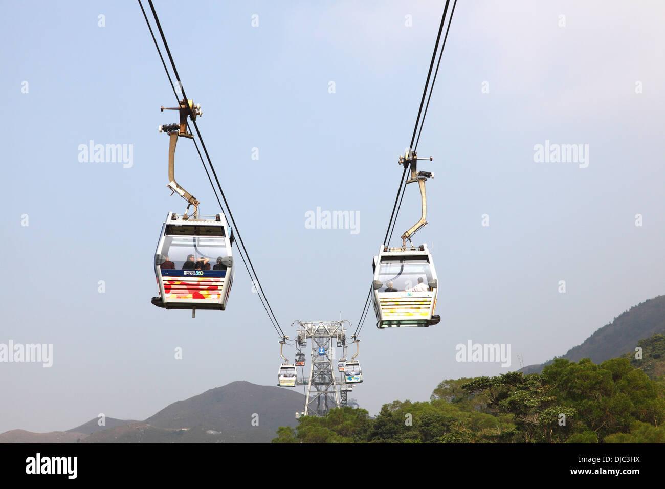 Ngong Ping 360 cable car on Lantau Island, Hong Kong - Stock Image