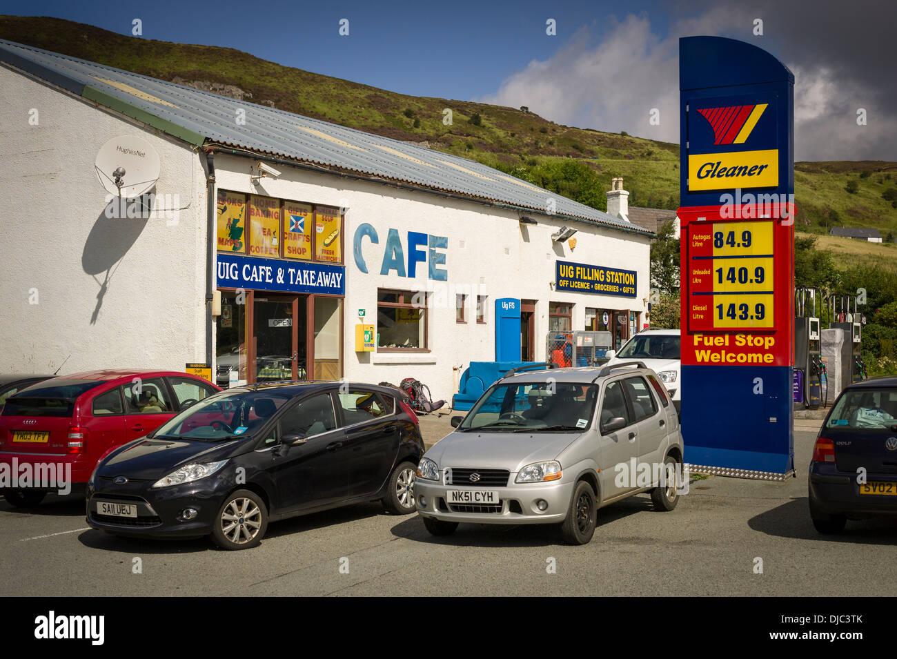 Uig filling station cafe and garage on Skye UK - Stock Image