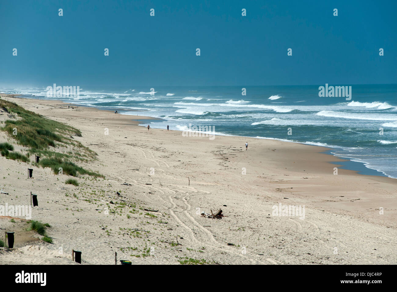Le Pin Sec beach in the Gironde department of the Aquitaine region of southwestern France. - Stock Image