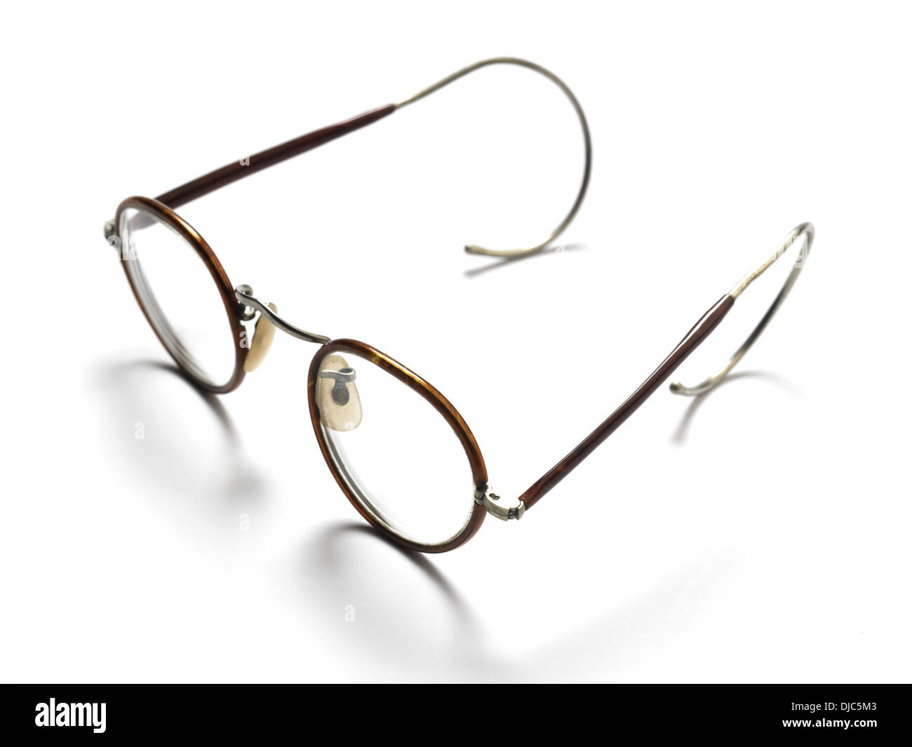 Pair of old fashioned glasses with wire frames Stock Photo: 62962819 ...