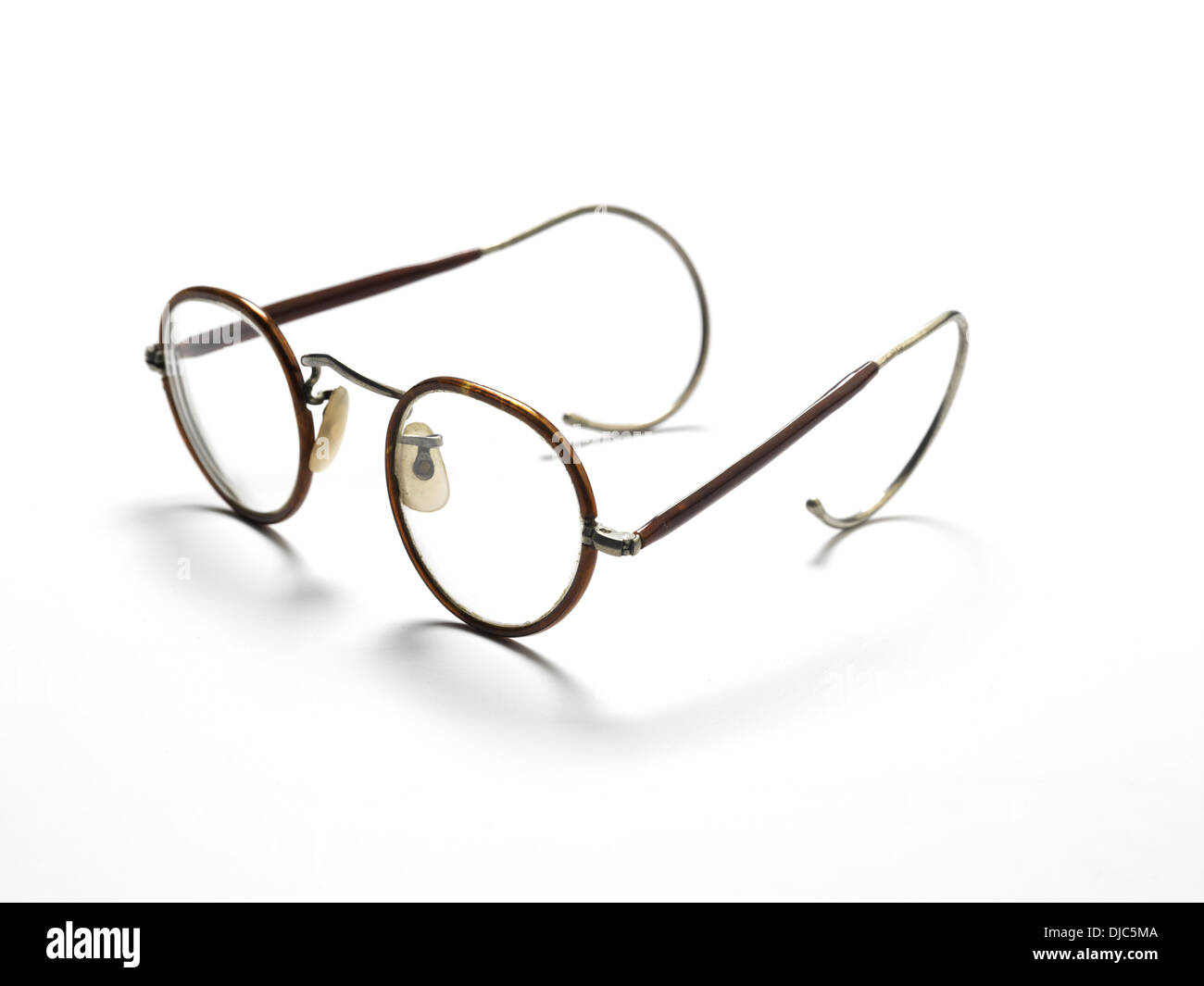 Pair of old fashioned glasses with wire frames Stock Photo: 62962826 ...