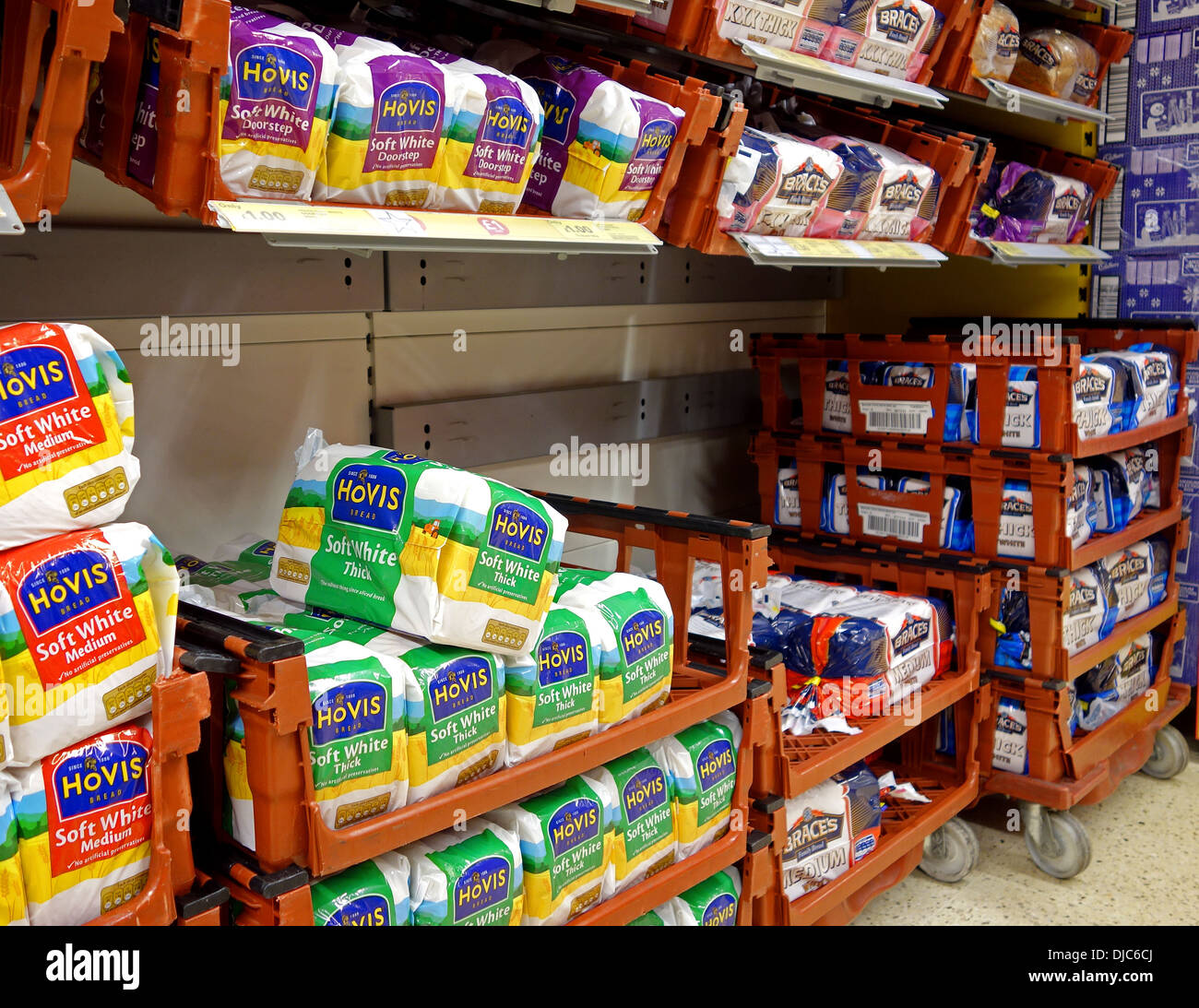 loaves of hovis bread in a supermarket - Stock Image