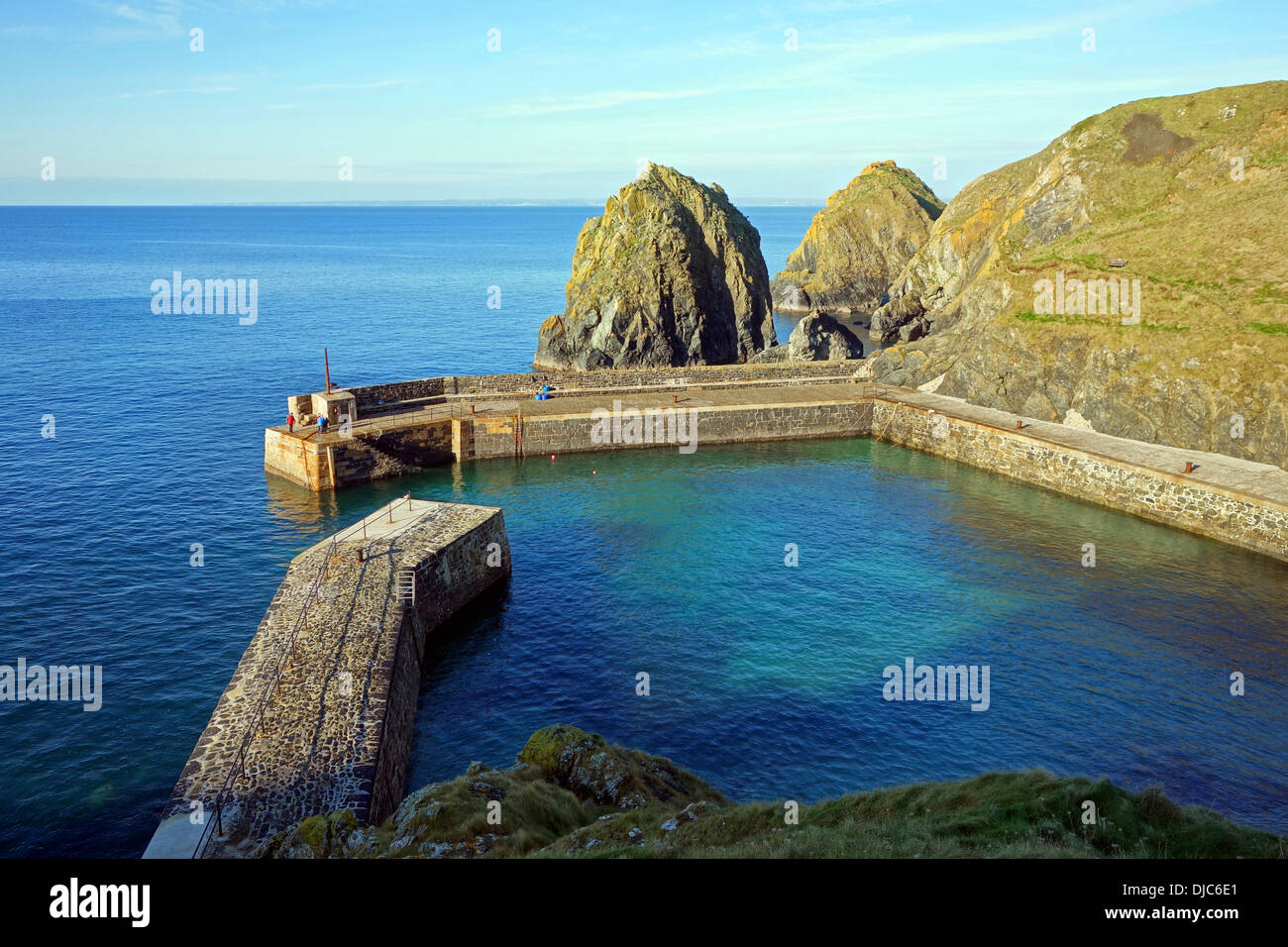 The harbour at Mullion in Cornwall, UK - Stock Image