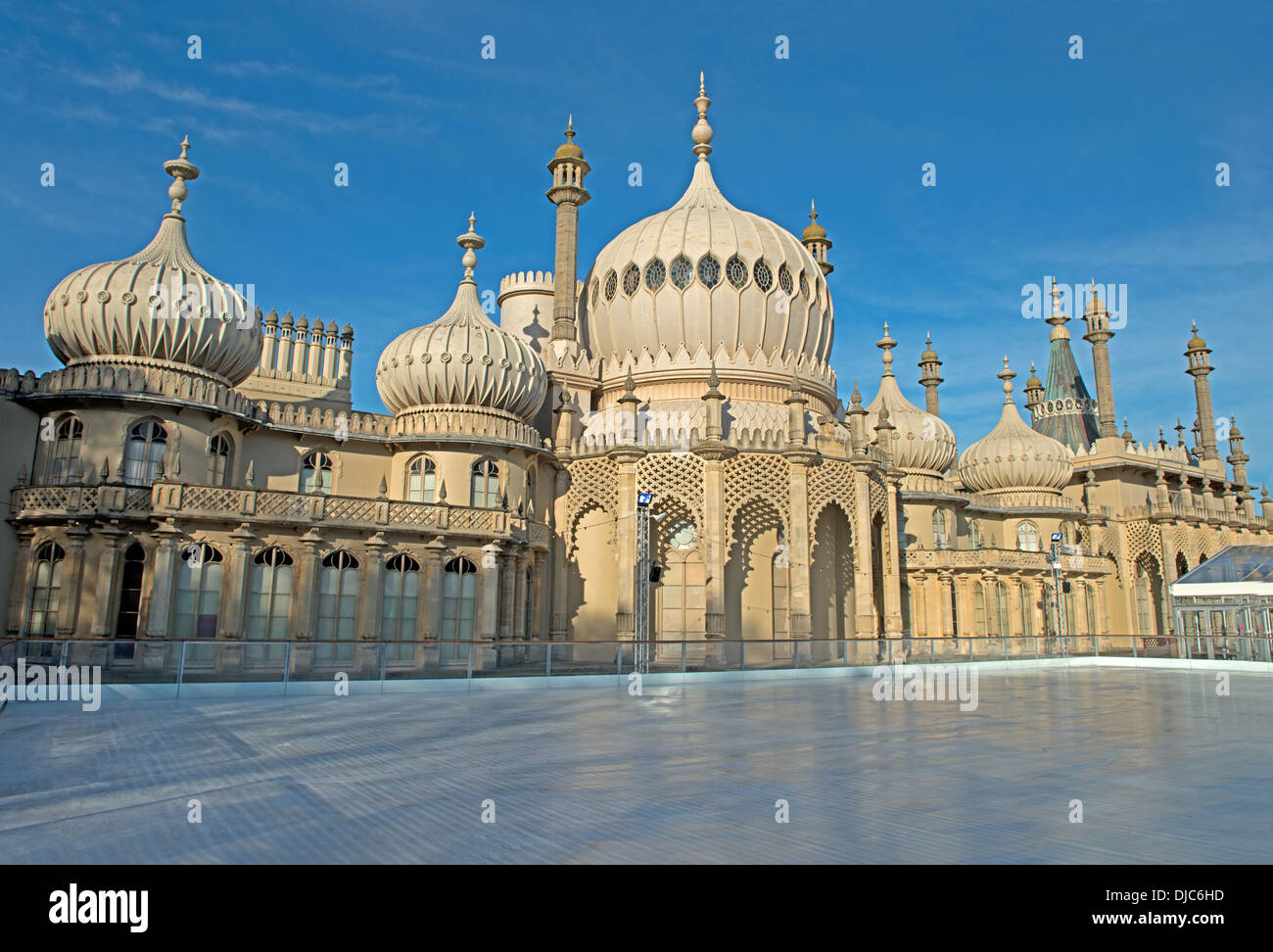 The Ice Skating Rink At The Royal Pavillion Gardens, Brighton, England, Uk - Stock Image