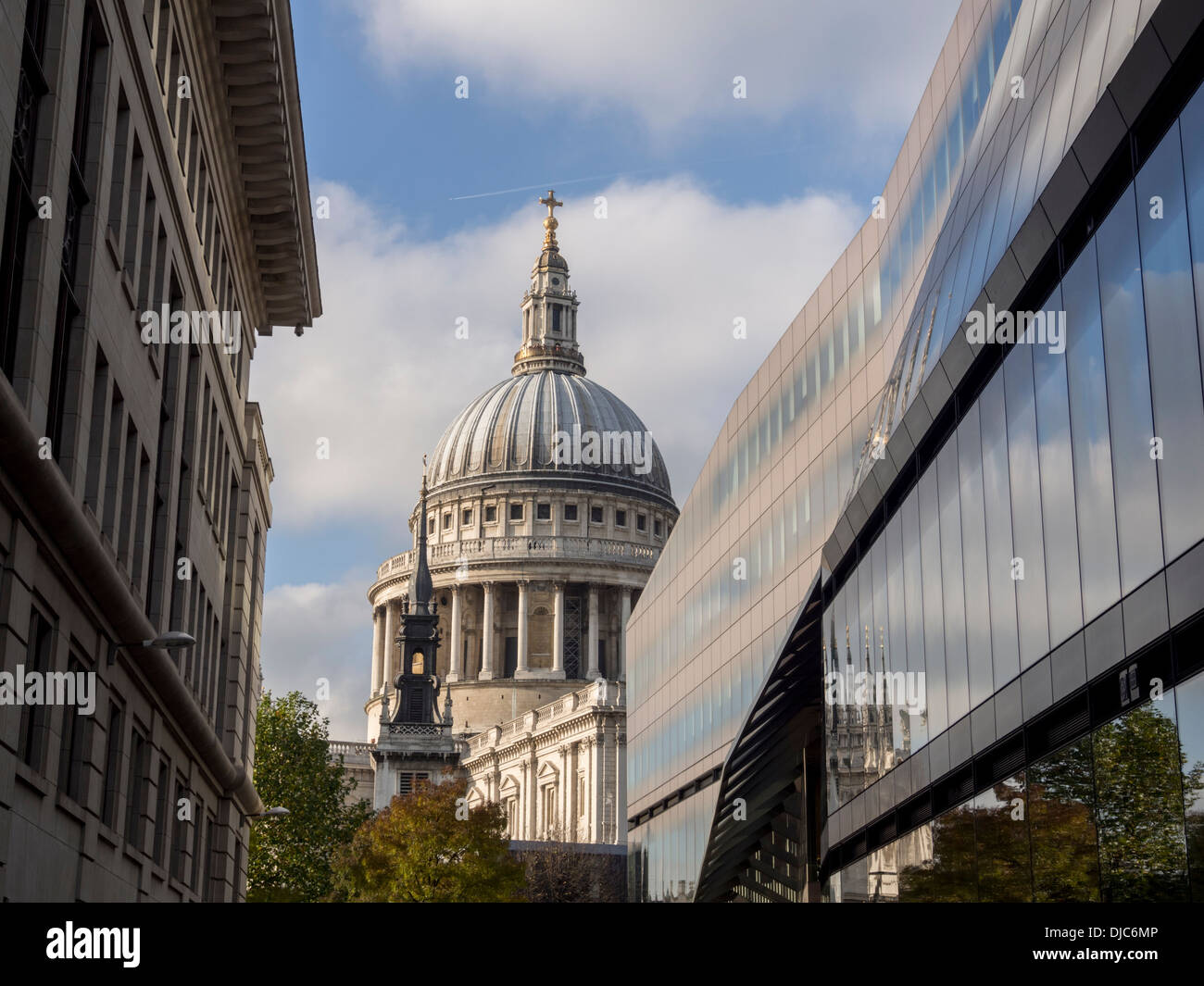 View of St Paul's Cathedral, London from One New Change shopping centre - Stock Image