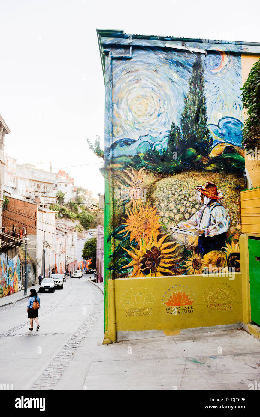 Street Art by Teo Doro in the style of Vincent Van Gogh in Valparaiso, Chile. - Stock Image