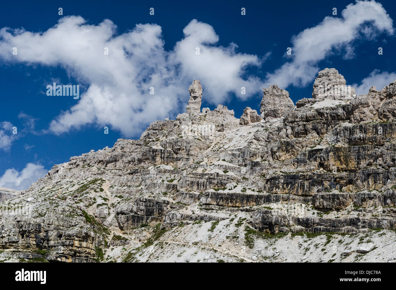 Landscape with Sexten Dolomites mountain range in South Tyrol in Northern Italy - Stock Image