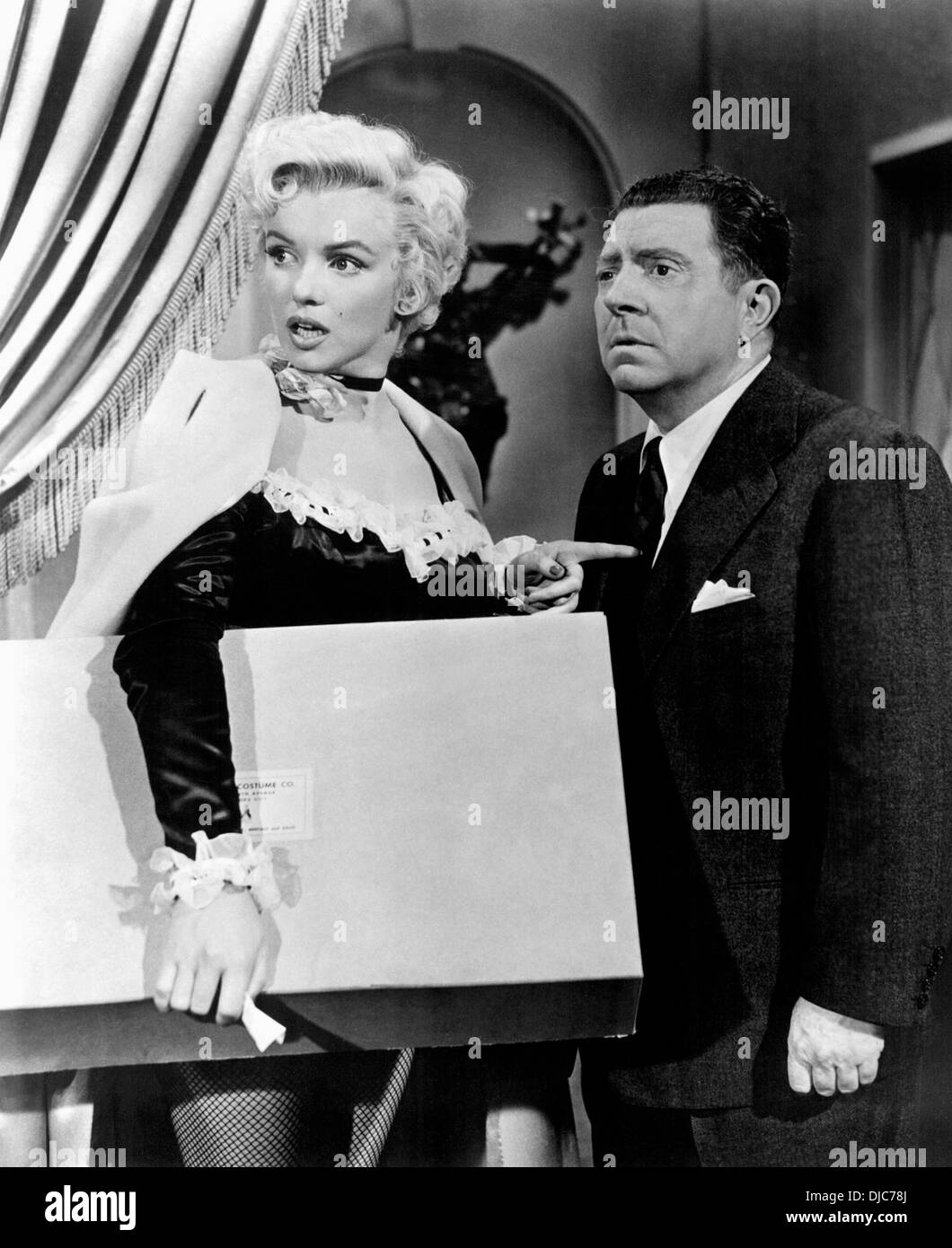 Marilyn Monroe and Frank McHugh on-set of the Film, There's No Business Like Show Business, 1954, 20th Century-Fox Film Corp. - Stock Image
