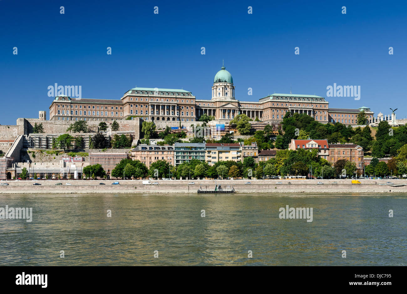 View of Buda Castle from Danube River. Royal Palace of Buda was built on the southern Castle Hill, Budapest, Hungary. Stock Photo
