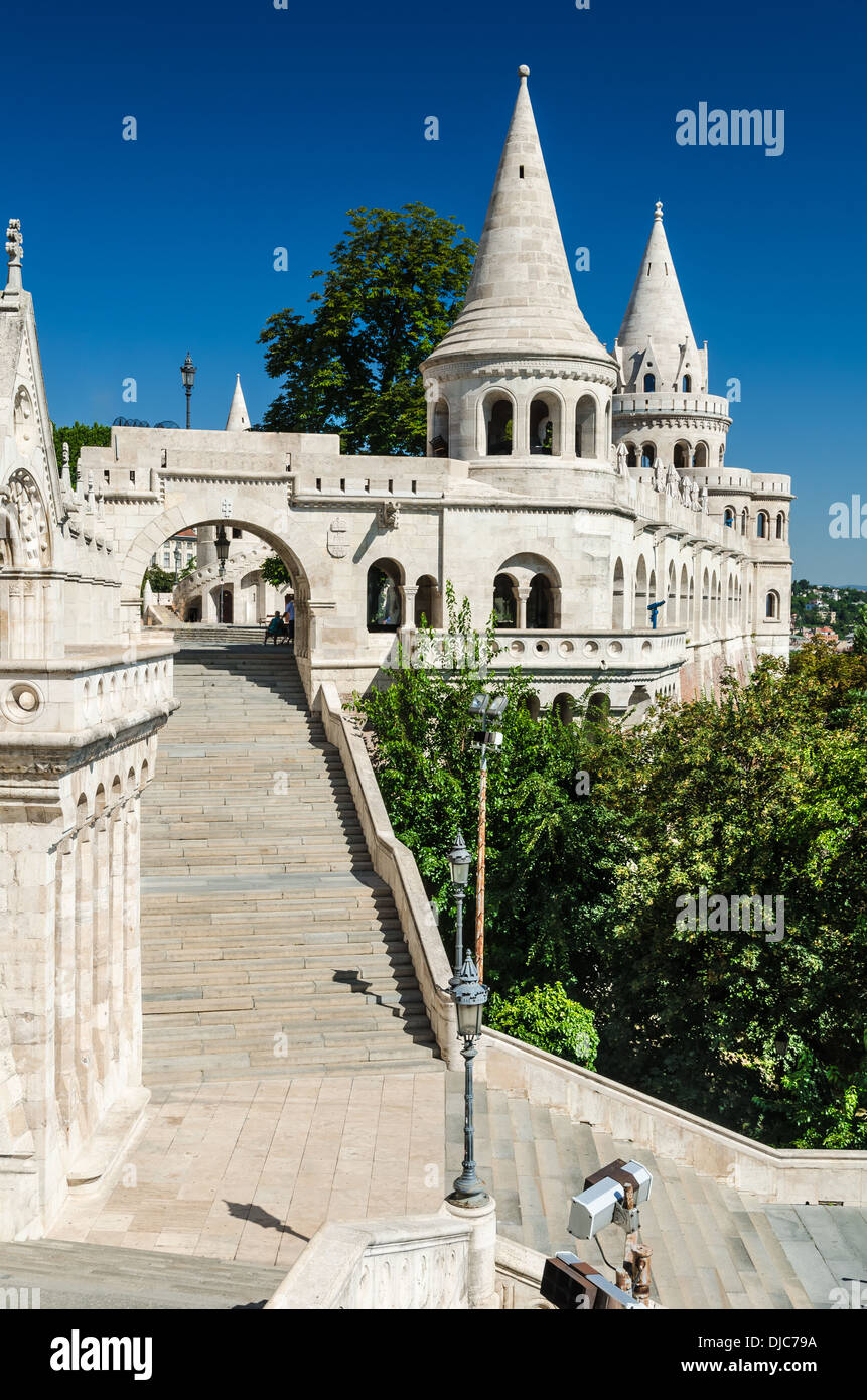 Architecture detail with terrace and conic tower of Fishermen Bastion in Budapest, built in XIXth century. Hungary - Stock Image