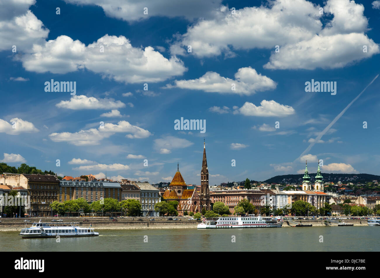 Castle Hill Buda district and Danube River in Budapest, capital of Hungary. - Stock Image